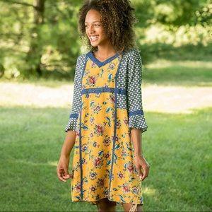 Matilda Jane Yellow & Blue 3/4 inch sleeve dress